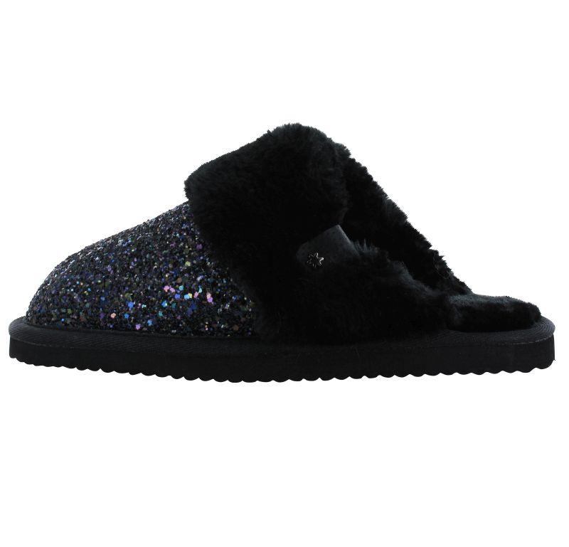 Flip*Flop Cuddle Glitter schwarz Hausschuhe mit Puschel Strass Synthetik