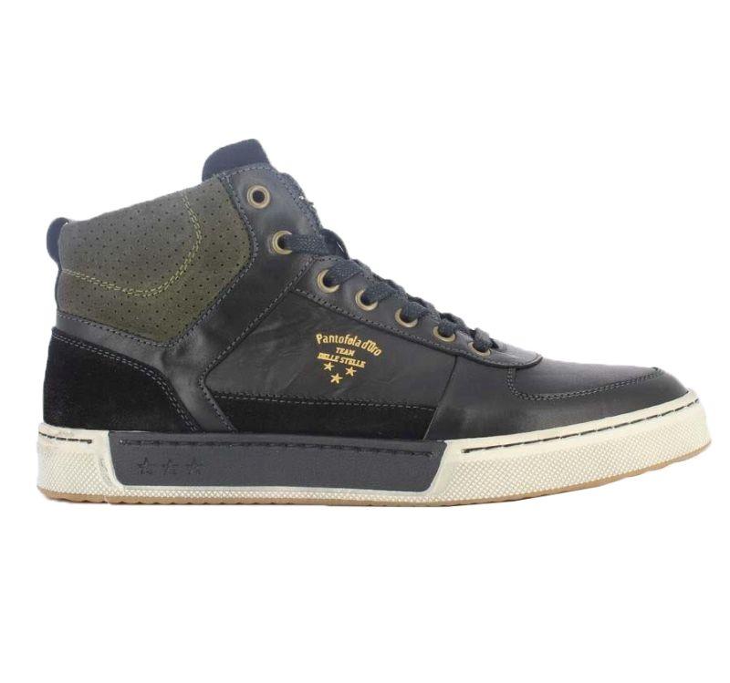 Pantofola d'Oro Frederico schwarz MID-Cut Sneaker Halbschuhe Schnürschuhe Leder