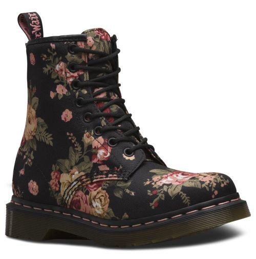 DR. MARTENS 1460 8-Loch Stiefel Schwarz Canvas Boots 11821016