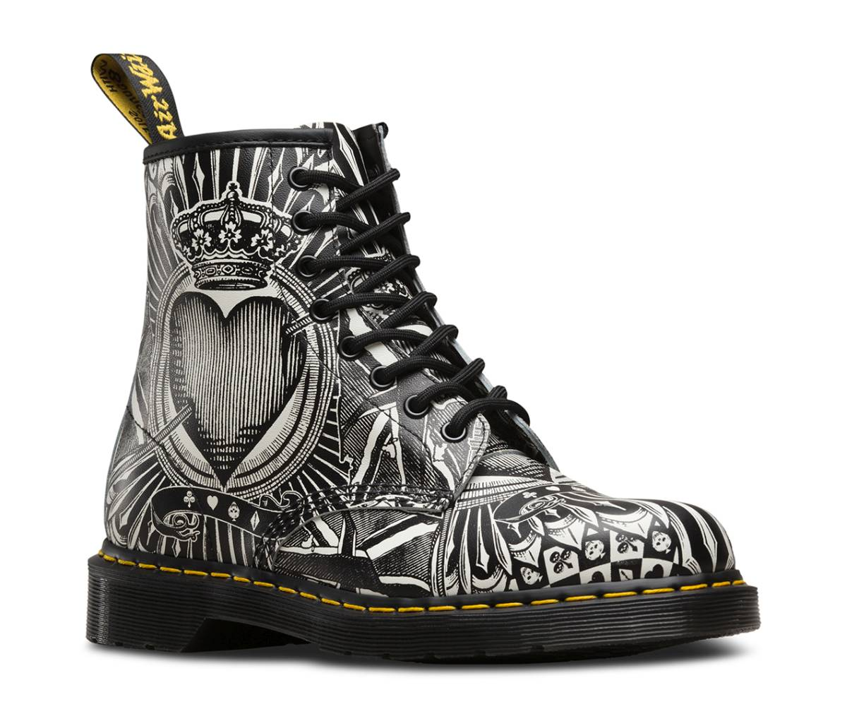 DR. MARTENS 1460 8-Eye Boot Schnürstiefel Egret Playing Card Print Glattleder
