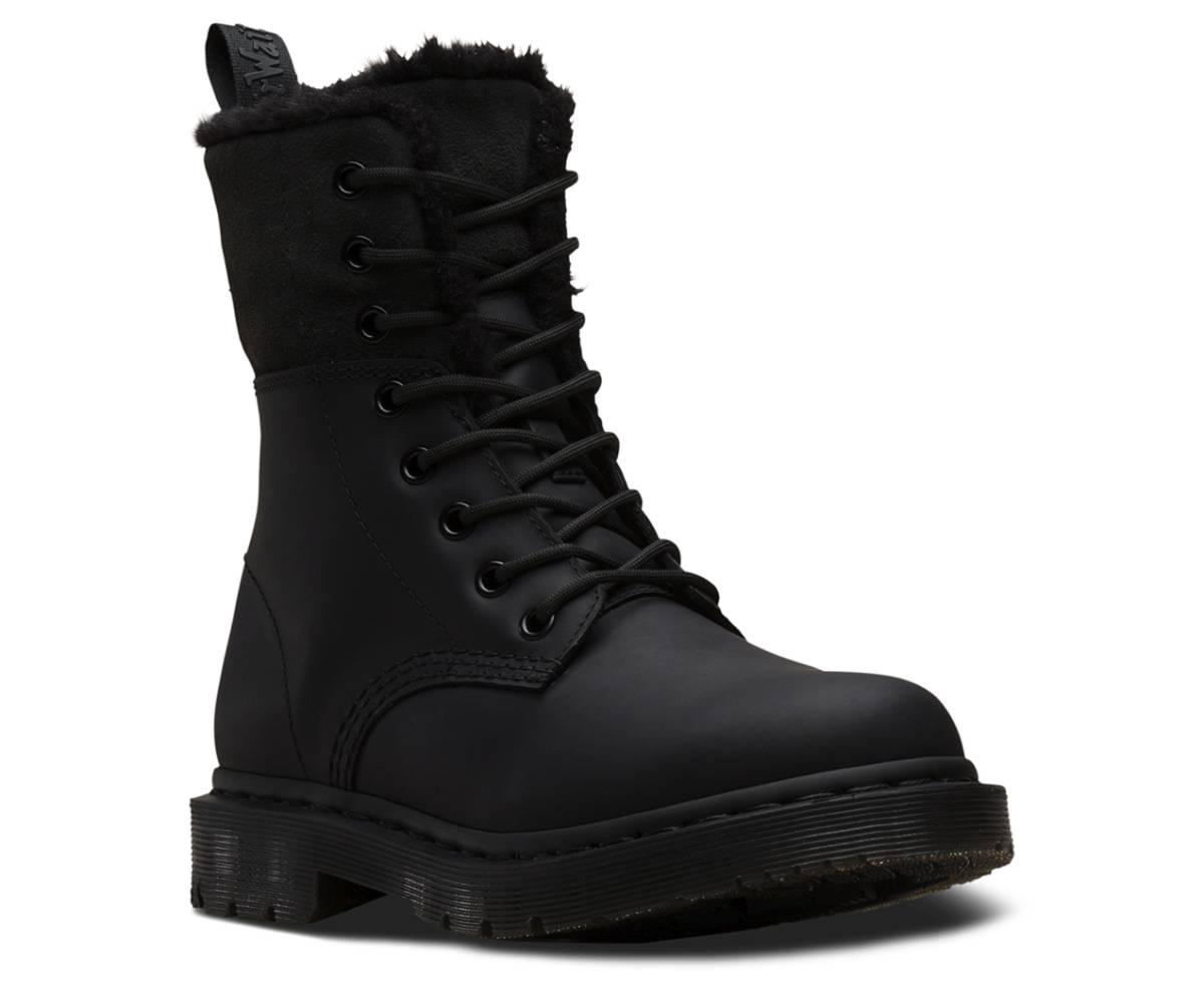 DrMartens Schwarz Schuhe Boots Kolbert Snowplow About Damen Black Details Schnürstiefel I2H9ED