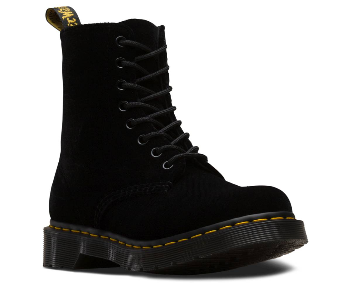 Dr. Martens 1460 Pascal Velvet schwarz black Schuhe Schnürstiefel Boots Damen