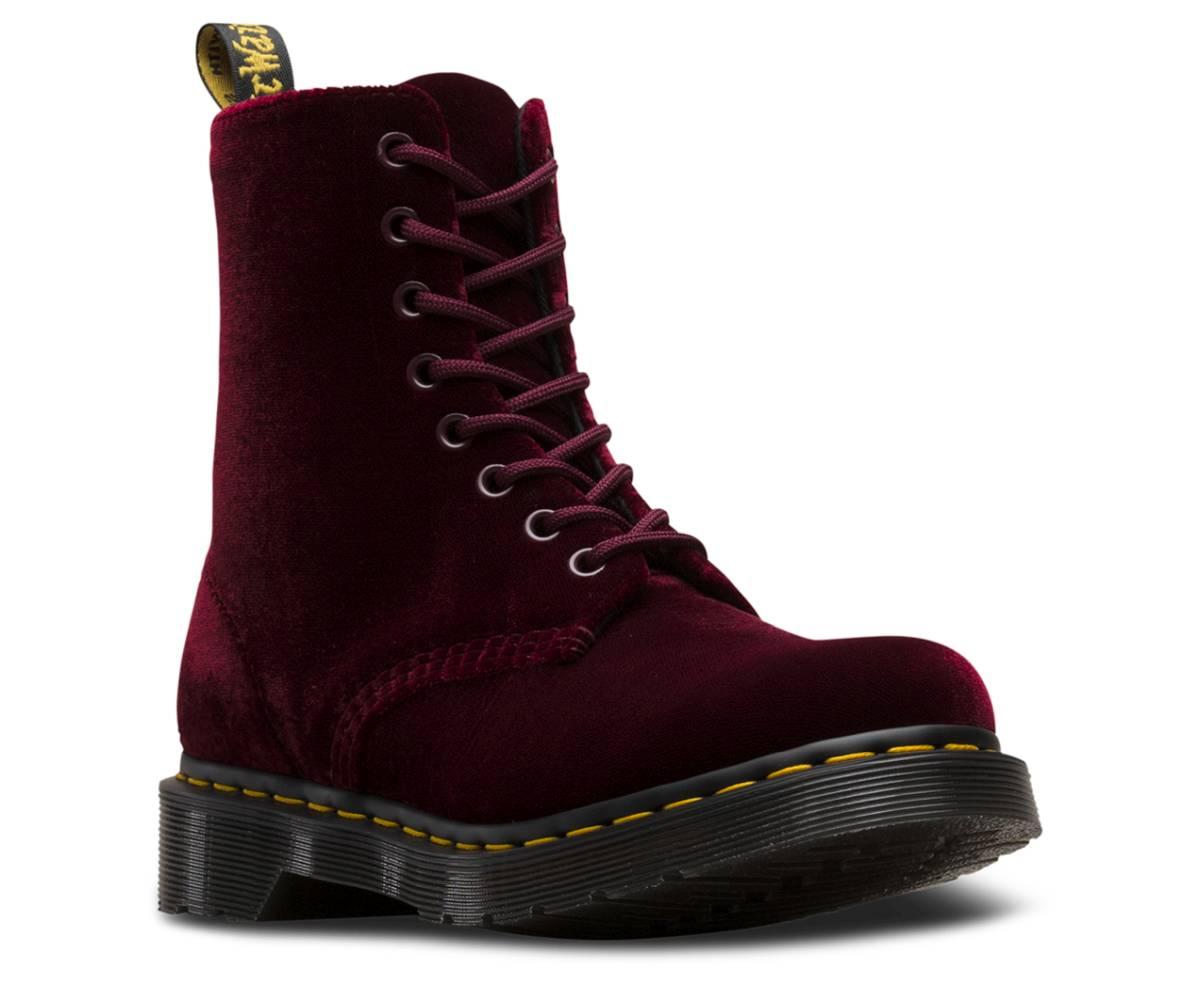 Dr. Martens 1460 Pascal Velvet rot cherry red Schuhe Schnürstiefel Boots Damen