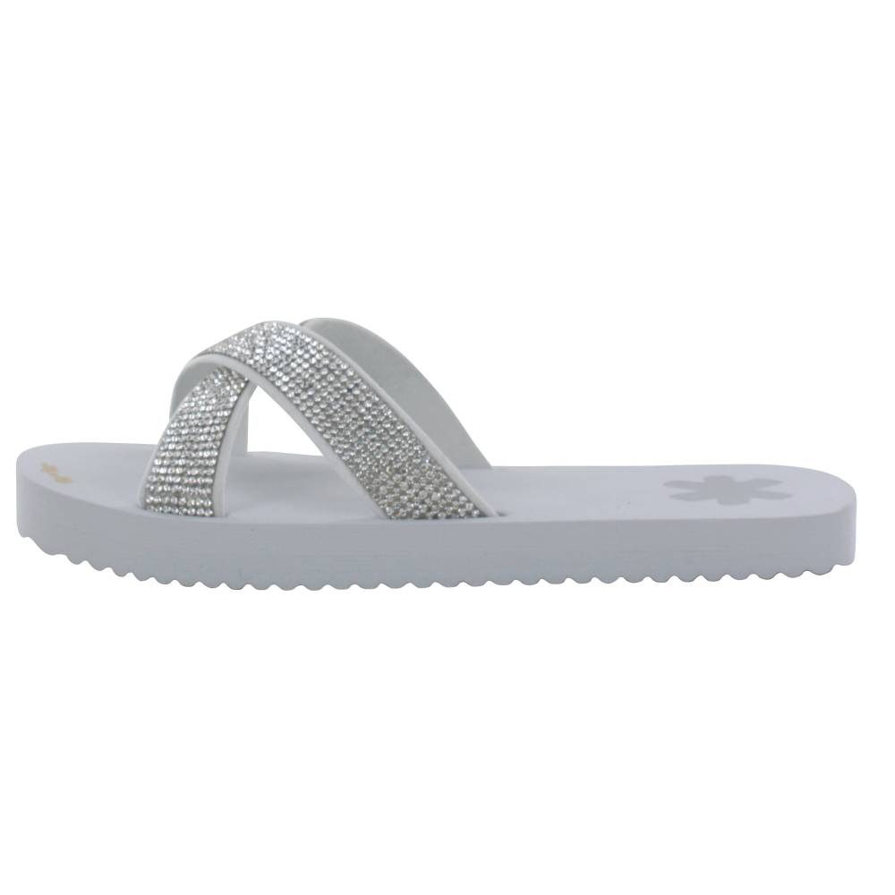 FLIP*FLOP Cross Glam Sandalen hellgrau light grey Gummi Strasssteine Damen