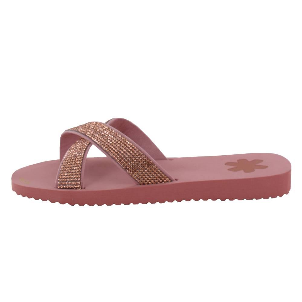 FLIP*FLOP Cross Glam Sandalen Freizeitschuhe Rosa Gummi Strasssteine Damen