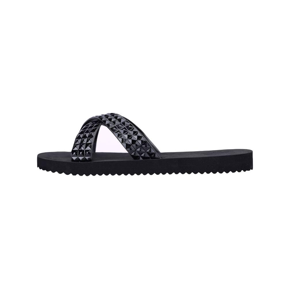FLIP*FLOP Cross Tile Sandalen Schuhe schwarz black Gummi Strasssteine EVA Damen
