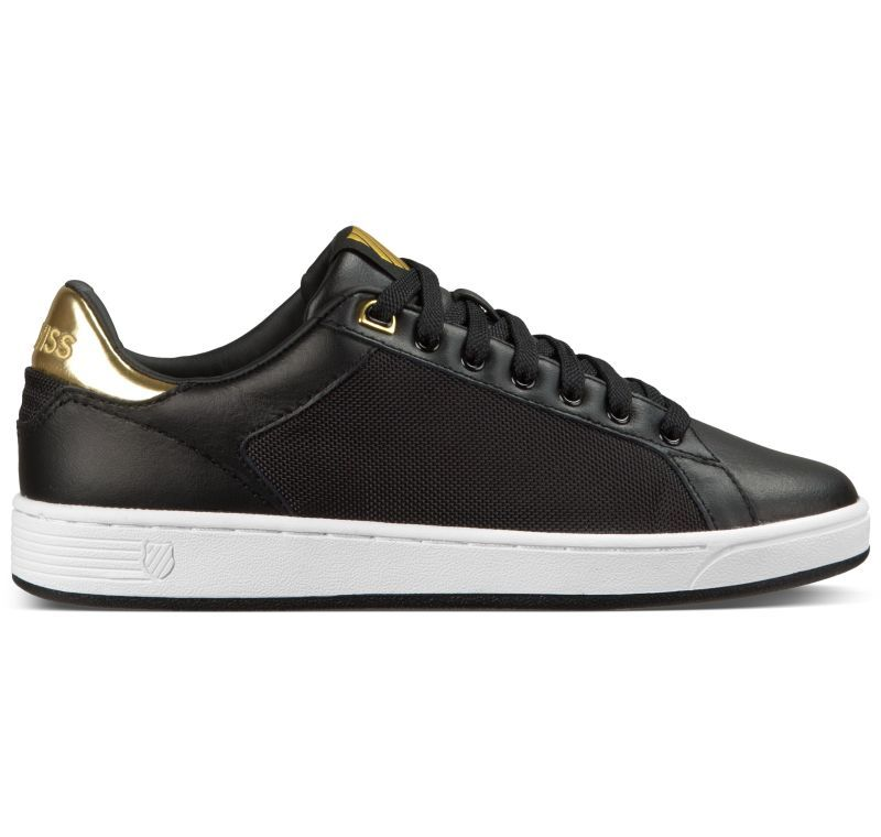 K-Swiss Clean Court CMF Damens Leder Schuhe Weiß Metallic-Look Sneaker Damen Schuhe Leder Neu ed1433