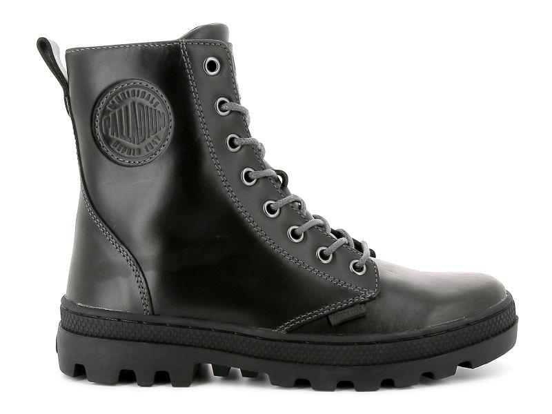 Palladium Pallabosse Off Lea grau Schnürstiefel Boots hochwertiges Leder Schuhe