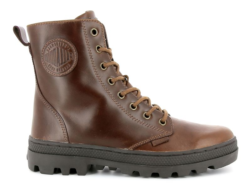 Palladium Pallabosse Off Lea braun Schnürstiefel Boots hochwertiges Leder