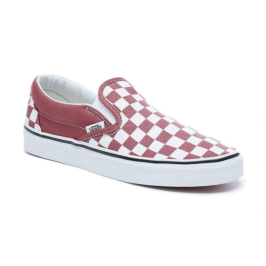 VANS Classic Slip-On Low-Cut Sneaker Rot apple butter Checkerboard vulkanisiert