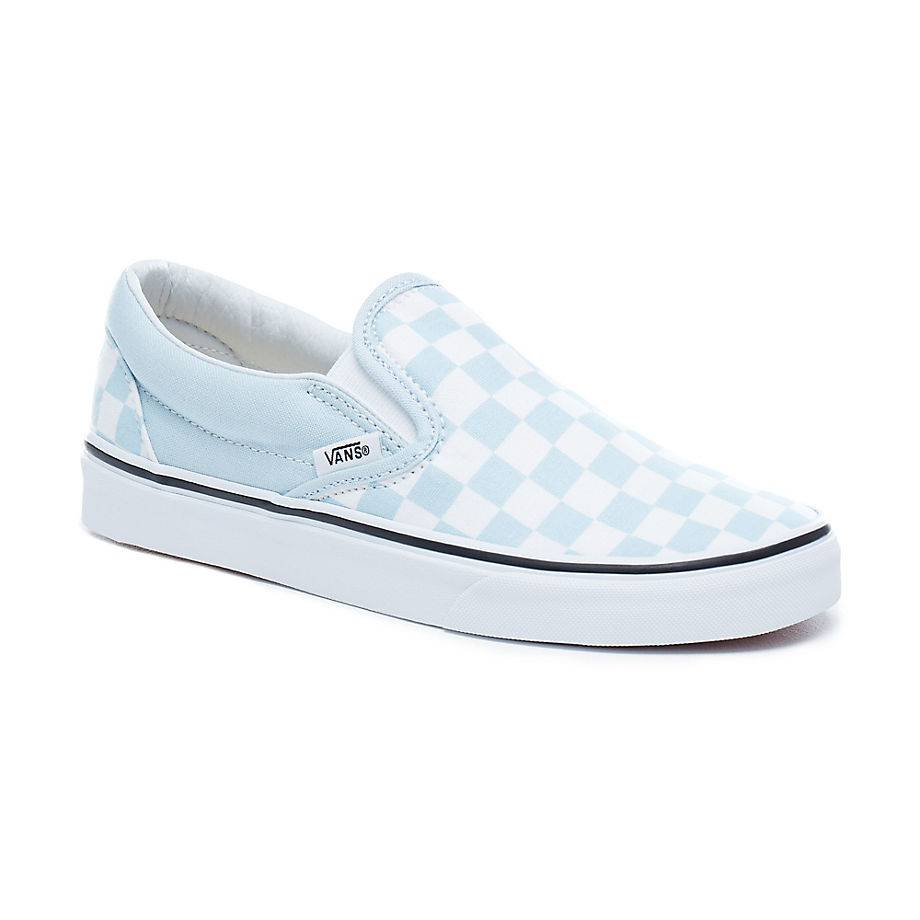 VANS Classic Slip-On Low-Cut Sneaker Blau baby blue Checkerboard vulkanisiert