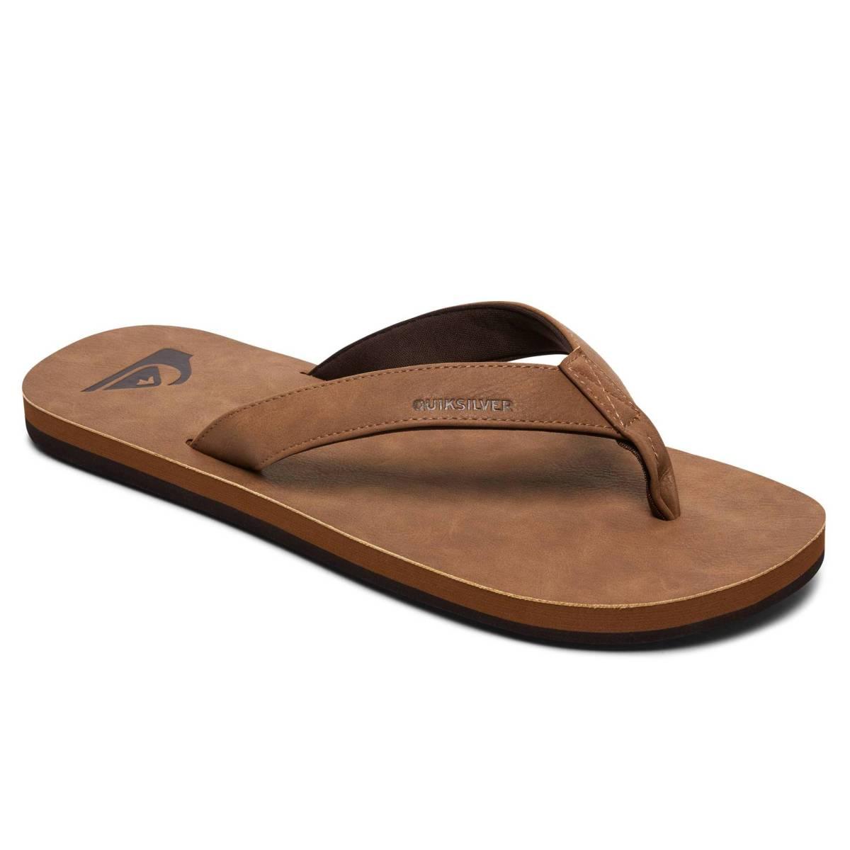 QUIKSILVER Molokai Nubuck Leder Schuhe Zehenstegsandale Natur Tan Solid Herren