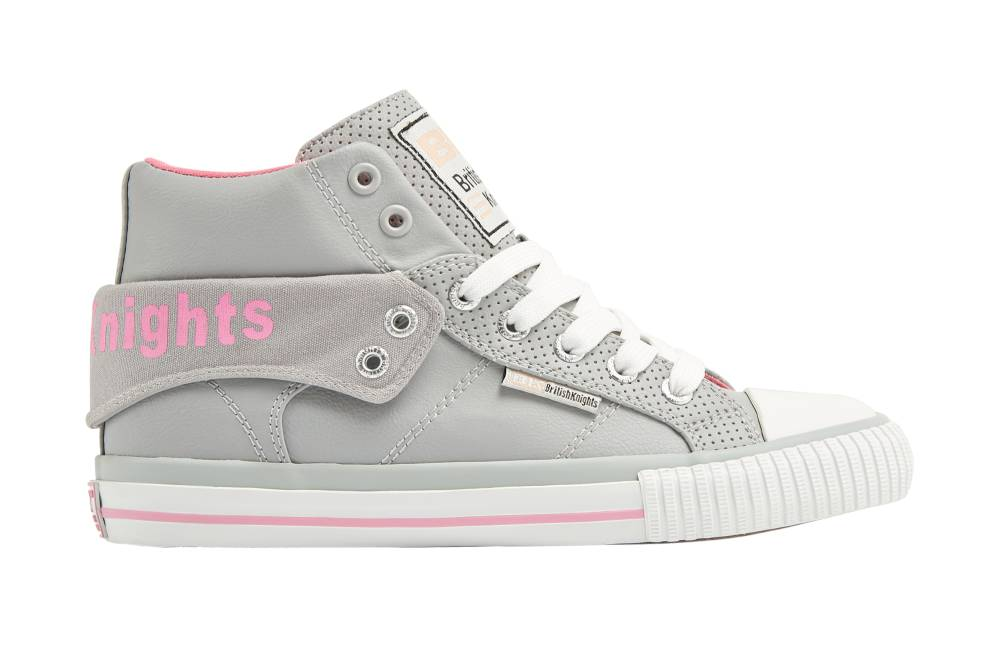 BRITISH KNIGHTS Roco Hi-Cut Sneaker hellgrau light grey pink perforiert Schuhe