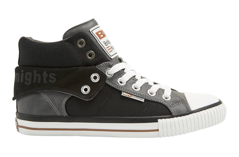 BRITISH KNIGHTS Roco Hi-Cut Sneaker grau grey black cognac PU Textil Nylon Schuhe