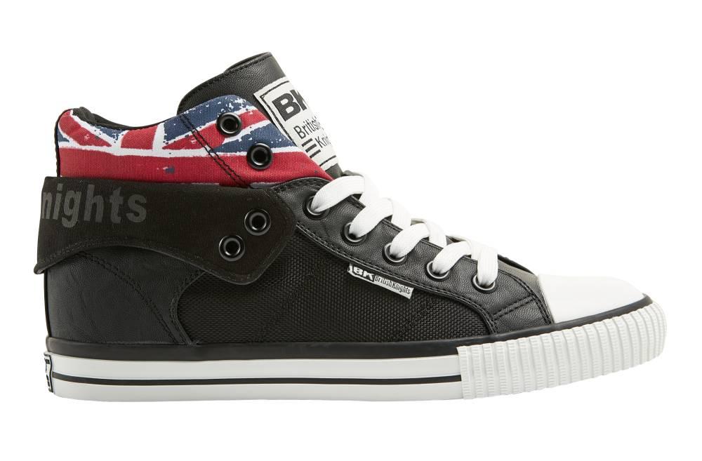 BRITISH KNIGHTS Roco Hi-Cut Sneaker schwarz black Union Jack Textil Nylon Schuhe