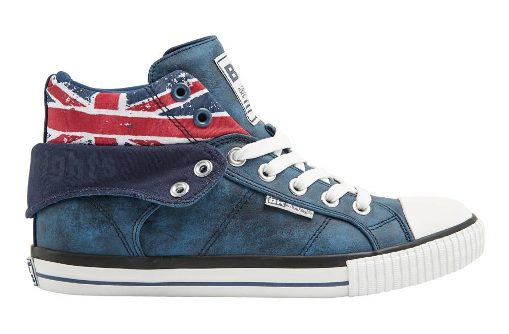 BRITISH KNIGHTS Roco Hi-Cut Sneaker blau blue union jack PU Textil Schuhe