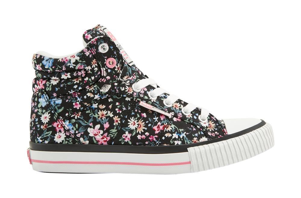 BRITISH KNIGHTS Dee Hi-Cut Sneaker schwarz black soft pink flower Textil Schuhe
