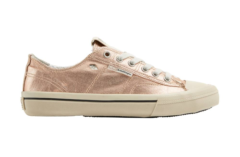 BRITISH KNIGHTS Chase Hi-Cut Sneaker rosa rose gold Metallic Canvas Schuhe