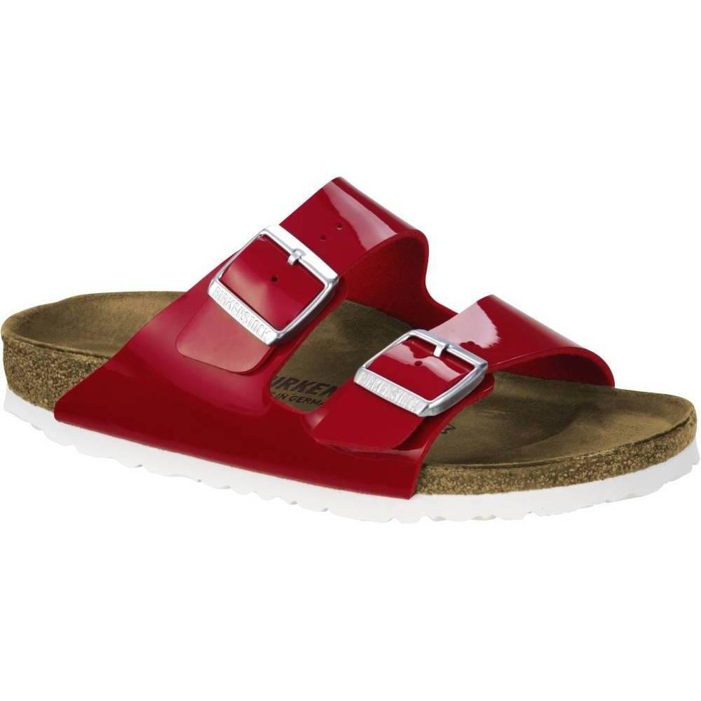 BIRKENSTOCK Arizona 2-Riemen-Sandale rot Weiss Birko-Flor Lack Leder normal