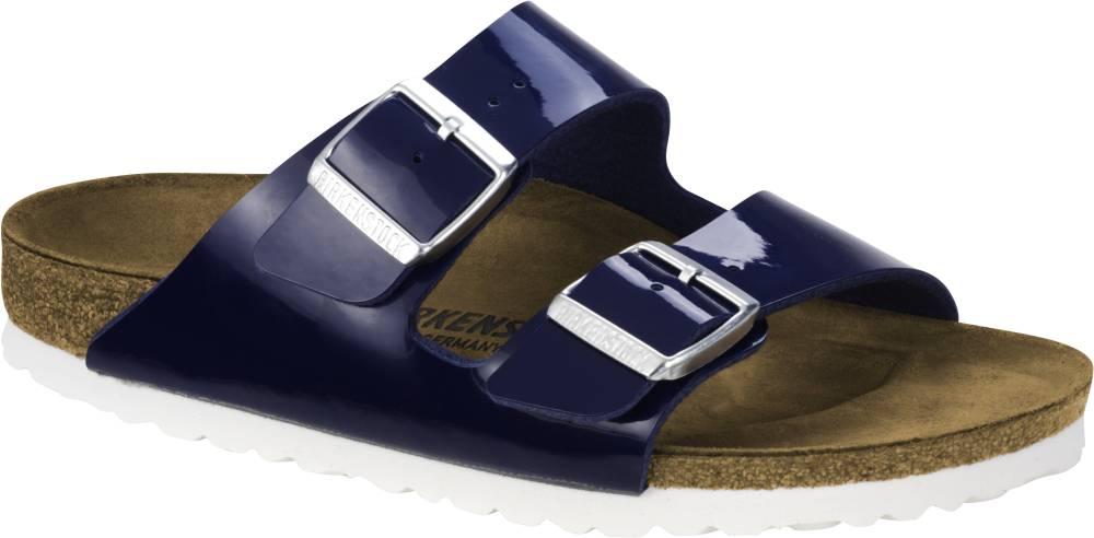 BIRKENSTOCK Arizona 2-Riemen-Sandale blau Weiss Birko-Flor Lack Leder normal