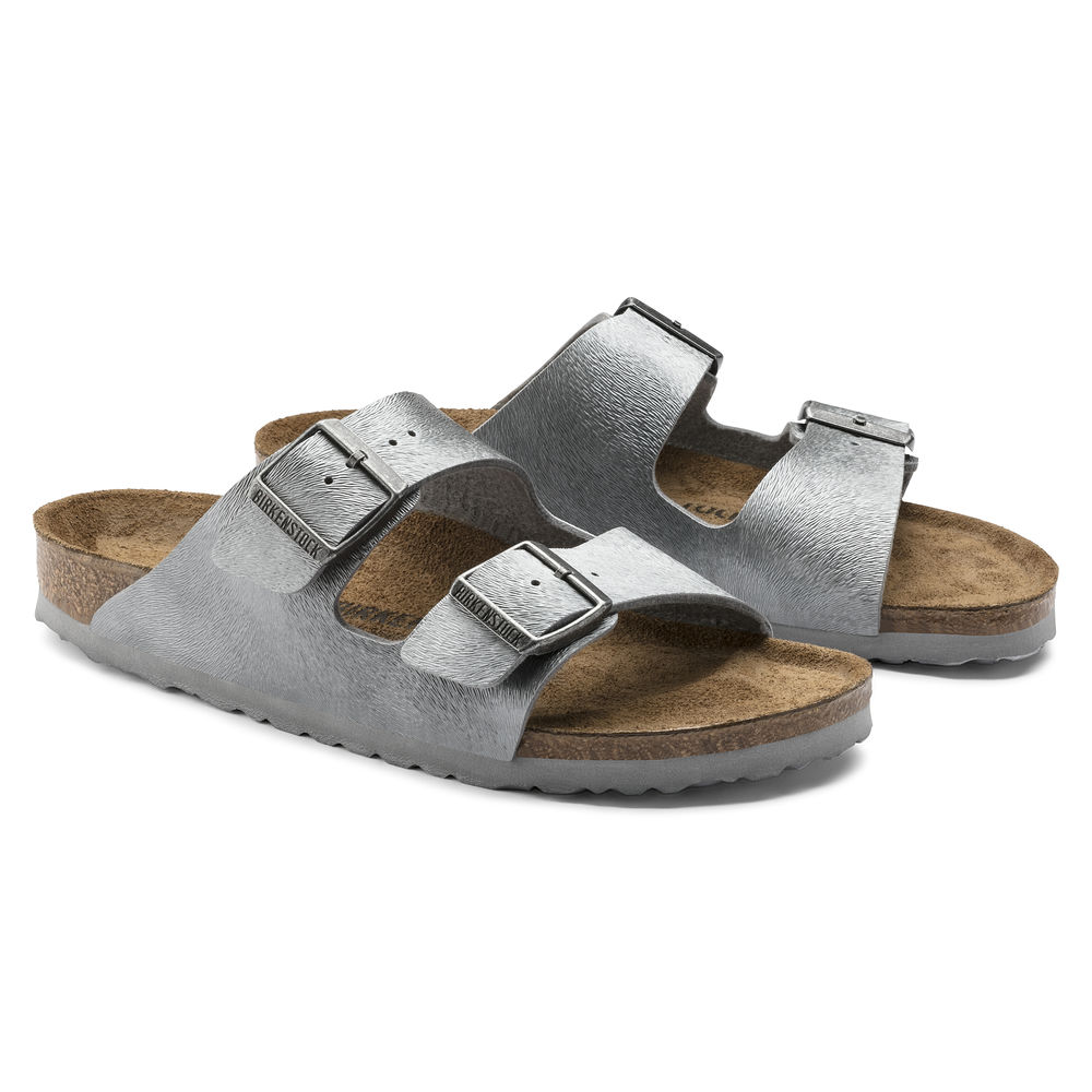 BIRKENSTOCK Arizona 2-Riemen-Sandale grau Animal Grey Birko-Flor Leder normal