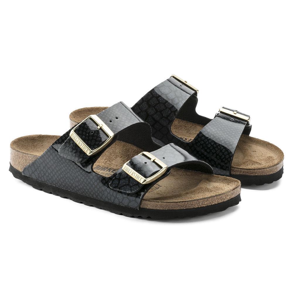 BIRKENSTOCK Arizona 2-Riemen-Sandale schwarz Snake Black Birko-Flor Leder normal
