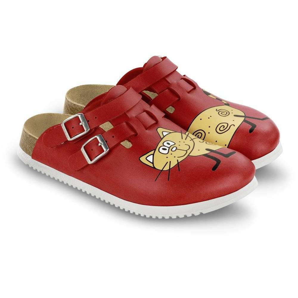 BIRKENSTOCK Kay Clogs rot Cat Red Background Birko-Flor Leder schmal