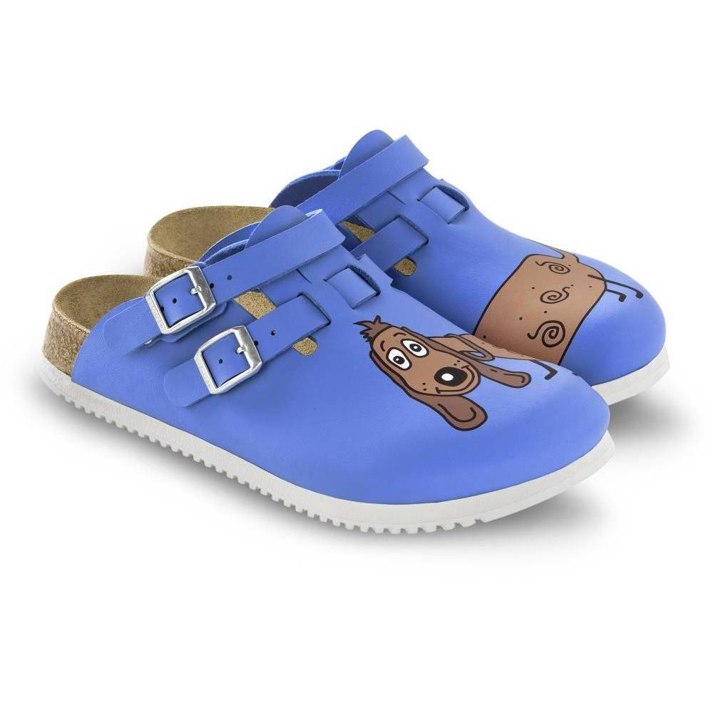 BIRKENSTOCK Kay Clogs blau Dog Blue Background Birko-Flor Leder schmal