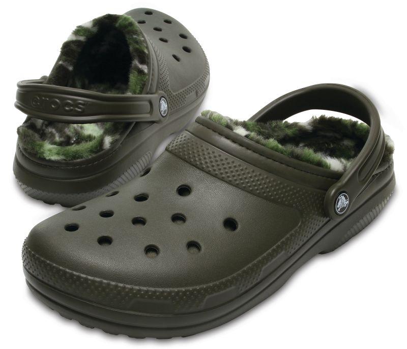 Crocs Classic Lined Clog Graphic camouflage grün gefüttert Clogs Hausschuhe