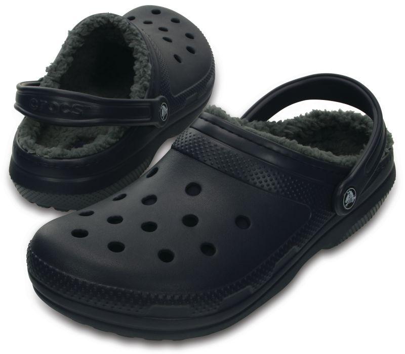Crocs Classic Lined Clog Blau Grau Winter Schuhe Schlappe CAL3