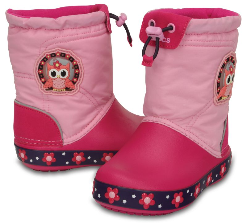 Crocs Kids CrocsLights LodgePoint Nightowl Boot Pink Rosa Gummistiefel CLLP1