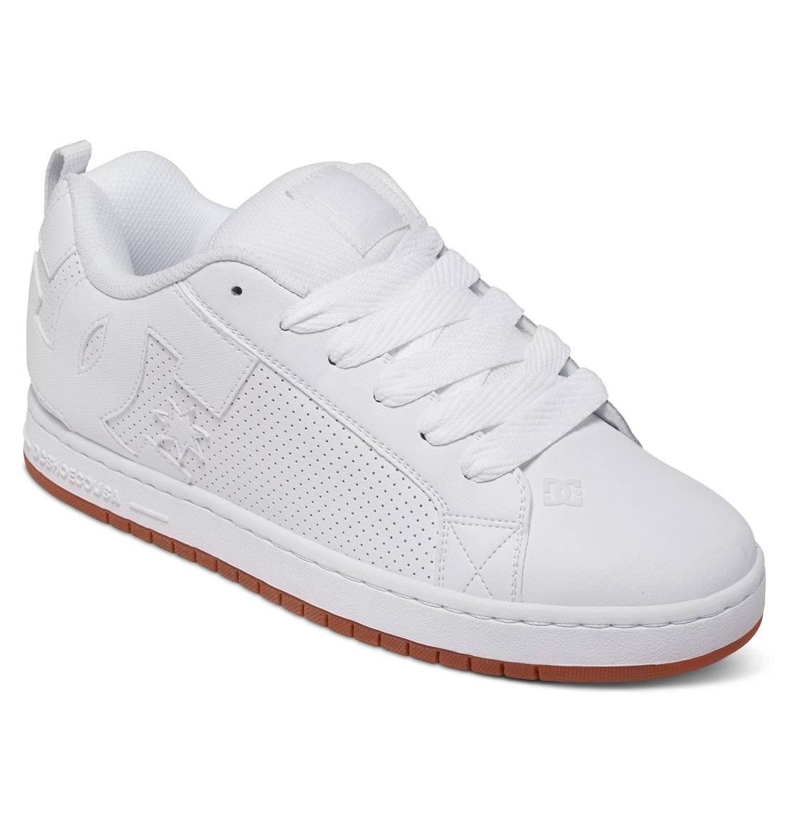 DC SHOES Court Graffik Low-Cut Sneaker Freizeitschuhe Skateschuhe weiß Leder