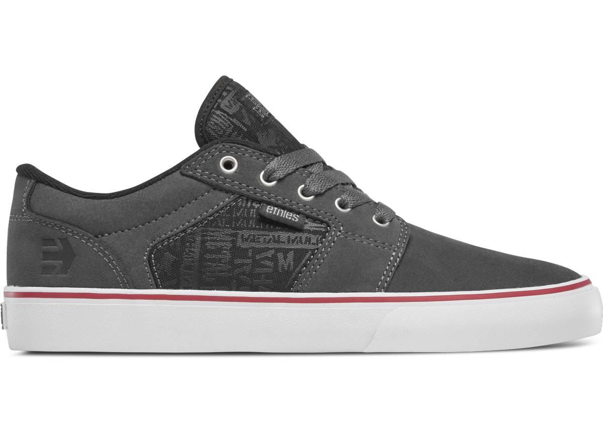 Etnies Barge LS Metal Mulisha grau schwarz weiß grey black white Low Skateschuhe