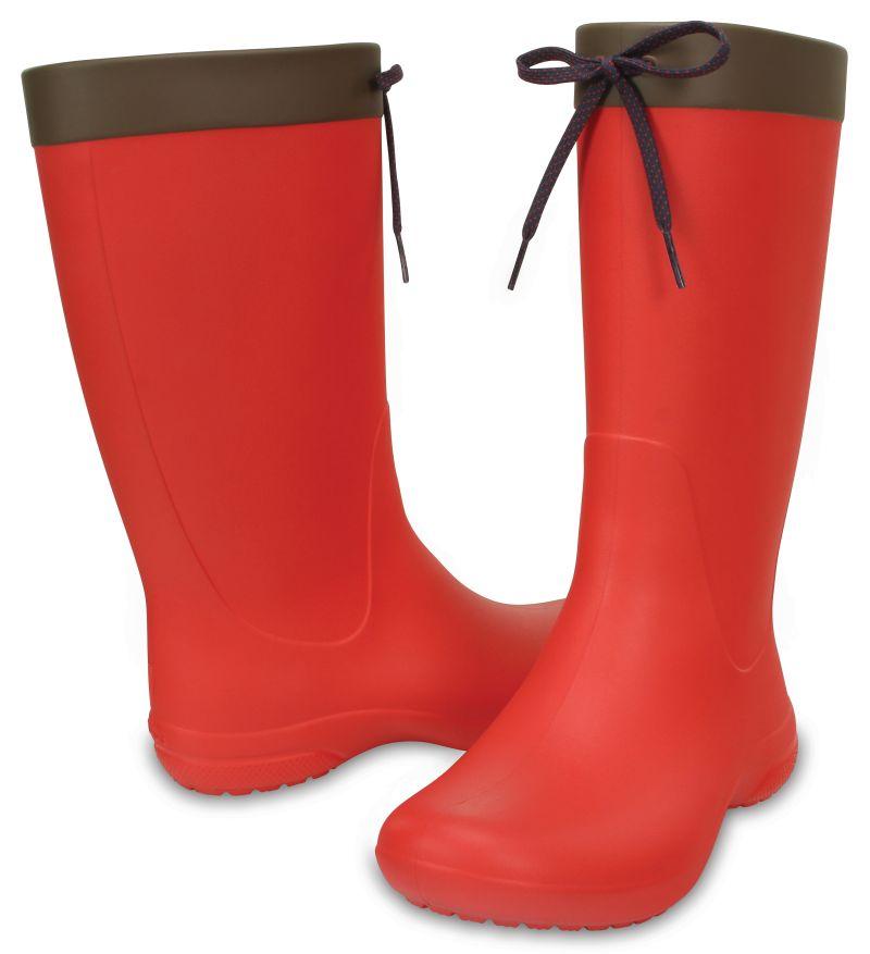 Crocs Freesail Rain Boot Women Damen Hellrot Regen Gummistiefel Schuhe FRB4