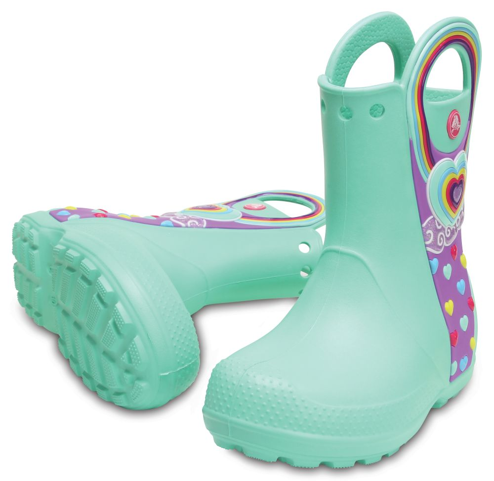 CROCS Handle It Graphic Rain Boot Kids Kinder Gummistiefel Minze Mint
