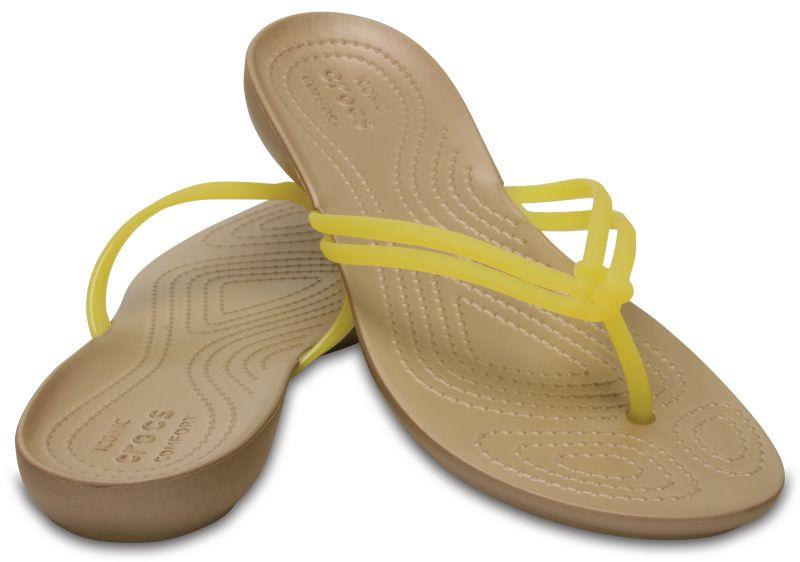 Crocs Isabella Flip Gelb Gold Damen Sandale Zehentrenner Fachhändler ISBF1
