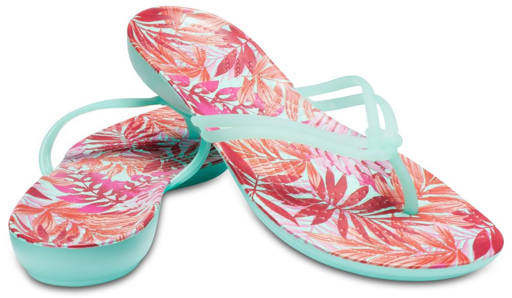 CROCS Isabella Graphic Flip Women Damen Zehenstegsandale minze New Mint Tropical