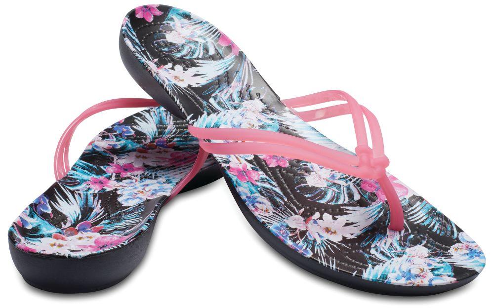 CROCS Isabella Graphic Flip Damen Zehenstegsandale Paradise Pink Tropical Floral