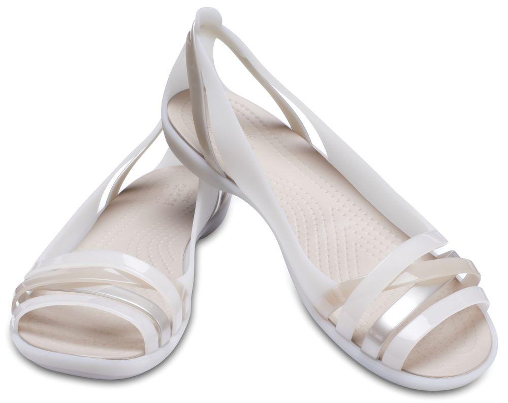 CROCS Isabella Huarache Flat 2 Women Sandale Ballerina auster Oyster Cobblestone