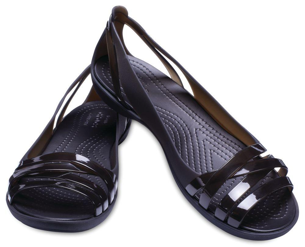CROCS Isabella Huarache Flat 2 Women Damen Sandalen Ballerina schwarz Black