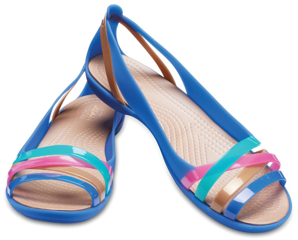 CROCS Isabella Huarache Flat 2 Women Sandalen Ballerina blau Blue Jean Gold