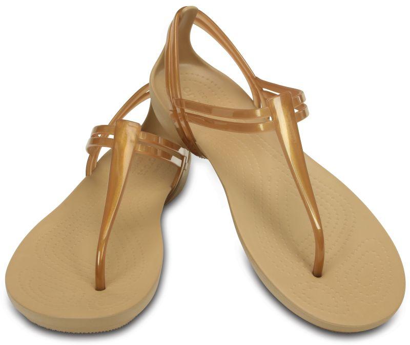 Crocs Isabella T-Strap Bronze Braun Damen Zehenstegsandale Schuhe ISTS2