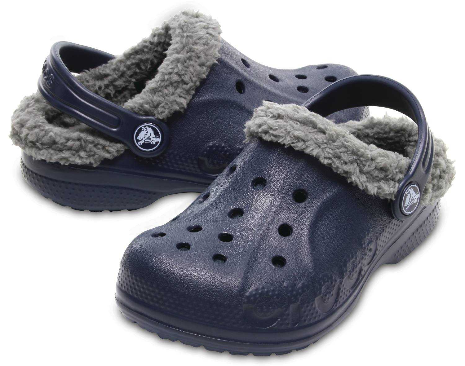 Crocs Bay Lined Kids blau grau navy smoke Clogs Hausschuhe Gartenschuhe Kinder