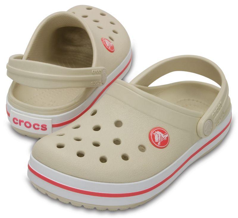 Crocs Crocband Kids Beige Orange Kinder Clogs Sandalen Schuhe Fersenriemen KCB53