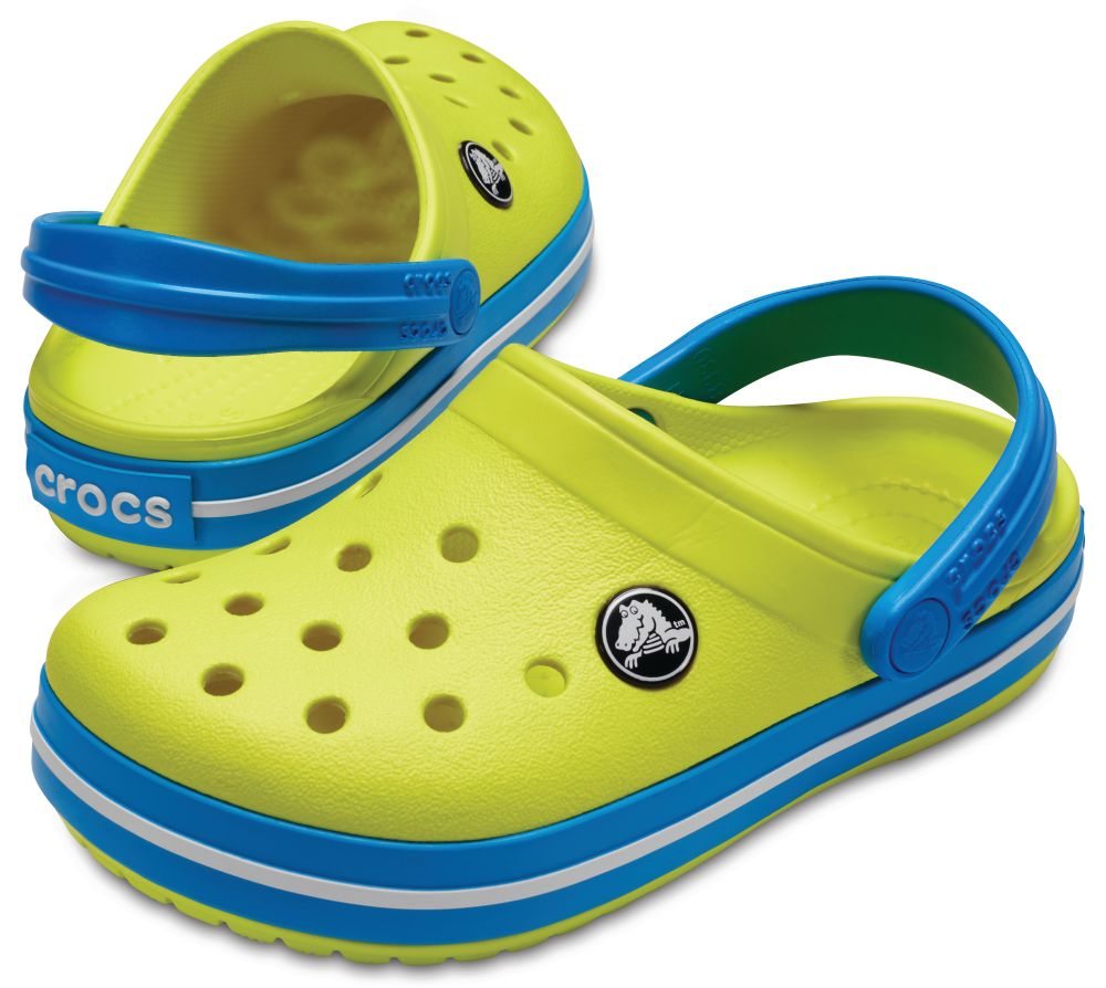 CROCS Crocband Kids Kinder Clogs Hausschuhe Grün Tennis Ball Green Ocean