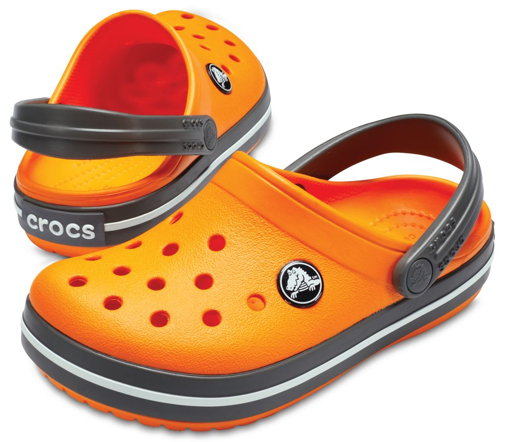 CROCS Crocband Kids Kinder Clogs Hausschuhe Orange Blazing Slate Grey Grau