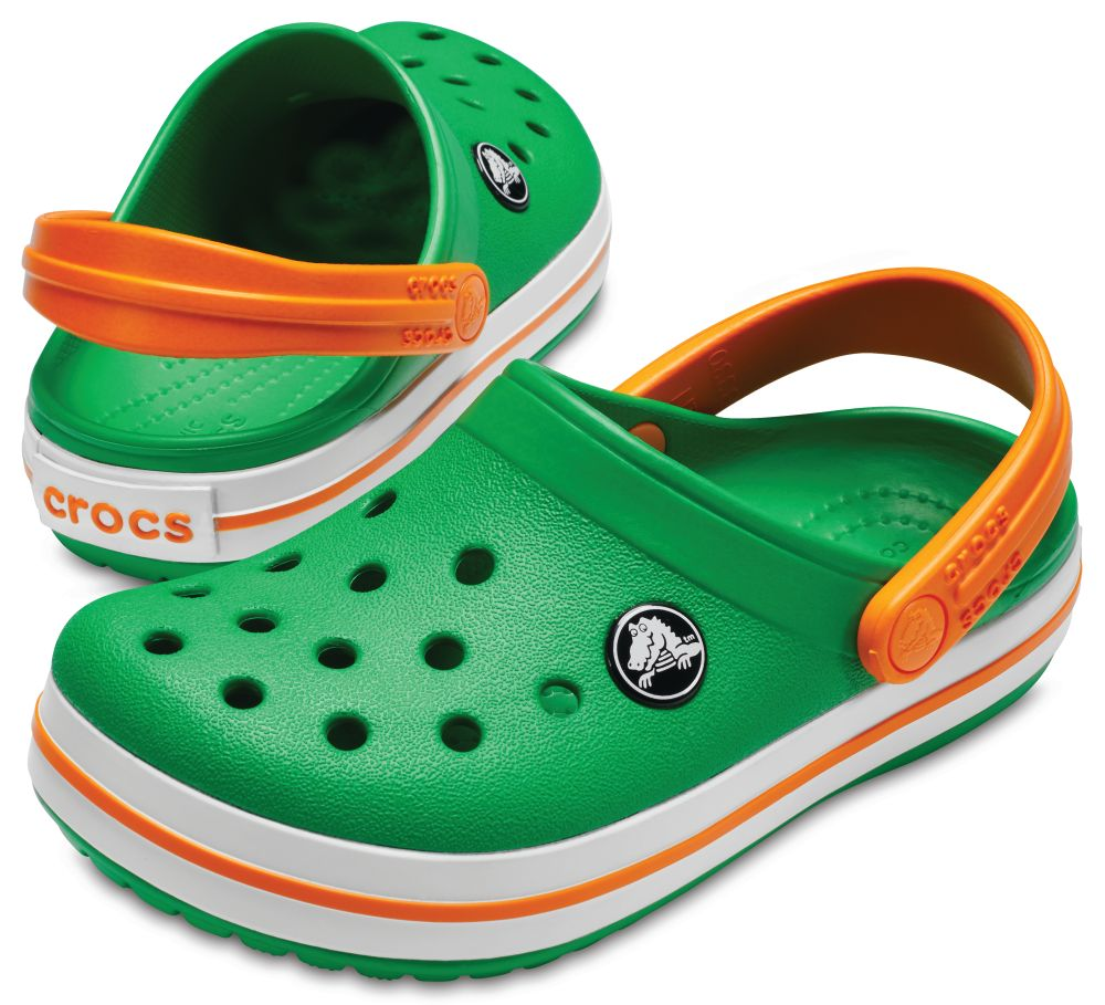 CROCS Crocband Kids Kinder Clogs Hausschuhe Grün Grass Green Blazing Orange