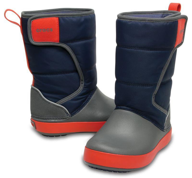 Crocs LodgePoint Snow Boot Kids dunkelblau grau Gummistiefel