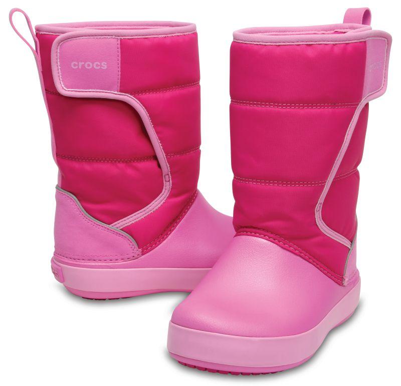 Crocs LodgePoint Snow Boot Kids pink leicht gefüttert Gummistiefel Schuhe