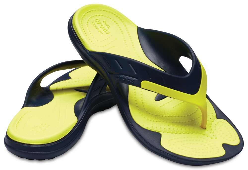 CROCS MODI Sport Flip Sandalen Zehentrenner blau Navy Tennis Ball Green